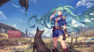 Rating: Safe Score: 96 Tags: animal atdan blue_eyes blue_hair breasts cleavage dog fallout fallout_4 gun hatsune_miku long_hair twintails vocaloid weapon User: luckyluna