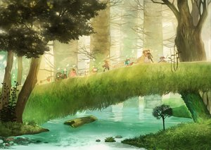 Rating: Safe Score: 118 Tags: animal butterfly forest grass original scenic taku_(fishdrive) tree water User: c86