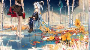 Rating: Safe Score: 66 Tags: 2girls blue_eyes doll dress flowers forest ji_dao_ji long_hair original reflection tree water white_hair User: Fepple