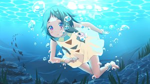 Rating: Safe Score: 72 Tags: akihikohex animal barefoot bubbles choi_mochimazzui fish gray_hair pink_eyes short_hair tamako_market underwater water User: ANIMEHTF