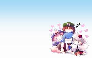 Rating: Safe Score: 78 Tags: bunnygirl cat_smile chibi cirno fairy gradient group hat hong_meiling inaba_tewi inubashiri_momiji saigyouji_yuyuko sleeping touhou wolfgirl yume_shokunin User: SciFi