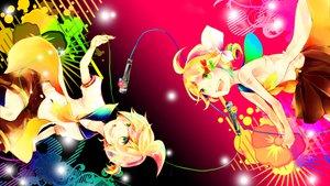 Rating: Safe Score: 38 Tags: bow flowers green_eyes kagamine_len kagamine_rin loli male microphone ponytail skirt vocaloid wakiri User: MissBMoon