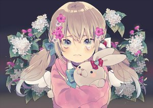 Rating: Safe Score: 22 Tags: aliasing blue_eyes blush bow brown_hair bunny choker crying flowers hoodie kouhara_yuyu long_hair original tears twintails wings User: luckyluna