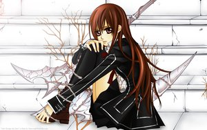 Rating: Safe Score: 54 Tags: brown_eyes brown_hair long_hair school_uniform scythe thighhighs vampire vampire_knight vector watermark weapon yuuki_cross User: 秀悟