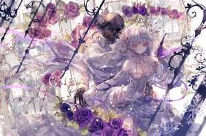 Rating: Safe Score: 80 Tags: bones breasts cleavage dress flowers long_hair onineko original purple_eyes rose skull white_hair User: BattlequeenYume