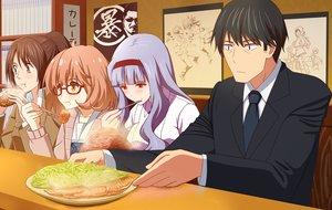 Rating: Safe Score: 68 Tags: blush crossover food glasses headband hibiki_ai idolmaster idolmaster_cinderella_girls kosaka_yukina kuriyama_mirai kyoukai_no_kanata male moritomo_nozomi producer_(idolmaster) sasha_browse shijou_takane shingeki_no_kyojin suit takahirokun the_rolling_girls tie yuyushiki User: Flandre93