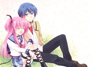 Rating: Safe Score: 75 Tags: angel_beats! blue_eyes blue_hair blush fang hinata_hideki kneehighs kousetsu long_hair pink_hair school_uniform short_hair yui_(angel_beats!) User: FormX