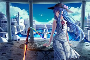 Rating: Safe Score: 71 Tags: blue_hair bow building city clouds dress hat hinanawi_tenshi katana long_hair red_eyes scenic sky sword tagme_(artist) touhou water weapon User: luckyluna