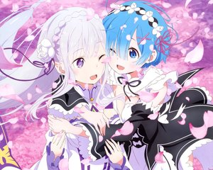 Rating: Safe Score: 39 Tags: 2girls apron aqua_eyes aqua_hair braids cropped dress emilia flowers headdress hug long_hair maid megami pointed_ears purple_eyes rem_(re:zero) re:zero_kara_hajimeru_isekai_seikatsu ribbons sakai_kyuuta scan short_hair white_hair wink User: RyuZU