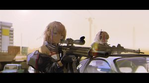 Rating: Safe Score: 164 Tags: 2girls anthropomorphism blonde_hair building car girls_frontline gloves headphones long_hair m4_sopmod_ii_(girls_frontline) novelance red_eyes st_ar-15_(girls_frontline) weapon User: RyuZU