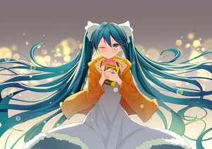 Rating: Safe Score: 94 Tags: aqua_eyes aqua_hair book dress hatsune_miku long_hair saito_(pigrank) twintails vocaloid wink User: FormX