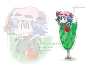Rating: Safe Score: 29 Tags: blue_hair cat_smile cherry chibi drink food fruit hat noai_nioshi remilia_scarlet touhou vampire wings zoom_layer User: Dust