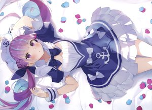 Rating: Safe Score: 85 Tags: braids breasts cleavage cropped headdress hololive long_hair matsui_hiroaki minato_aqua purple_eyes scan twintails User: Nepcoheart