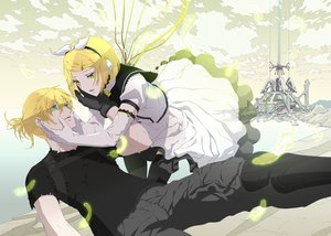 Rating: Safe Score: 47 Tags: aqua_eyes blonde_hair dress elbow_gloves feathers gloves green_eyes headphones kagamine_len kagamine_rin male nagimiso short_hair techgirl thighhighs vocaloid User: FormX