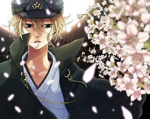 Rating: Safe Score: 20 Tags: all_male blonde_hair blue_eyes flowers hat jpeg_artifacts kagamine_len male petals short_hair vocaloid yamako User: HawthorneKitty