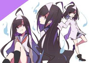 Rating: Safe Score: 22 Tags: black_hair headdress kneehighs loli long_hair original purple_eyes school_uniform shirt short_hair shorts skirt tama_(tama-s) yurako-san_(tama) User: otaku_emmy
