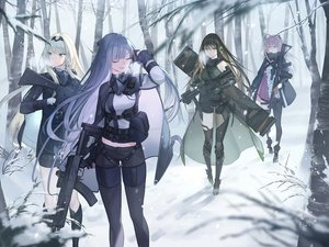 Rating: Safe Score: 94 Tags: ak12_(girls_frontline) an94_(girls_frontline) anthropomorphism aqua_eyes ar-15_(girls_frontline) blonde_hair boots brown_eyes brown_hair forest girls_frontline gloves gray_hair group gun long_hair m4a1_(girls_frontline) mt_(ringofive) pink_hair ponytail purple_eyes snow thighhighs tree uniform weapon User: sadodere-chan