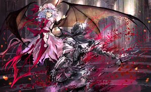 Rating: Safe Score: 76 Tags: armor blue_hair dress fang hat petals red_eyes remilia_scarlet short_hair stairs touhou vampire wings yukishiro_arute User: RyuZU