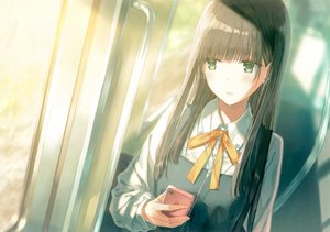 Rating: Safe Score: 47 Tags: bow brown_hair green_eyes headphones hiten_goane_ryu long_hair original phone ribbons scan school_uniform User: BattlequeenYume