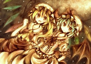 Rating: Safe Score: 61 Tags: 2girls blonde_hair blue_hair flandre_scarlet hat polychromatic red_eyes remilia_scarlet ribbons short_hair touhou vampire wings wiriam07 User: PAIIS