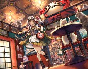 Rating: Safe Score: 39 Tags: animal apron cat catgirl food headdress kyashii_(a3yu9mi) lolita_fashion maid original tail waitress User: FormX