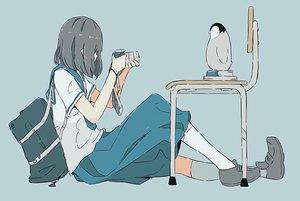 Rating: Safe Score: 40 Tags: animal black_hair book camera kneehighs original penguin school_uniform short_hair tagme_(artist) waifu2x User: otaku_emmy