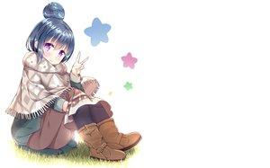 Rating: Safe Score: 25 Tags: blue_hair boots cape grass purple_eyes shima_rin short_hair wari_(nirodo26) white yuru_camp User: RyuZU
