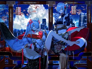 Rating: Safe Score: 61 Tags: 2girls apron aqua_eyes aqua_hair barefoot bow building cherry_blossoms choker city clouds crown elbow_gloves fan flowers fuuna_(conclusion) gloves headdress japanese_clothes kimono long_hair maid night original sky stars twintails wristwear User: BattlequeenYume