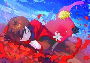 Rating: Safe Score: 41 Tags: brown_hair cape clouds dress flowers hikari50503 hoodie pantyhose ruby_rose rwby short_hair sky sleeping User: otaku_emmy