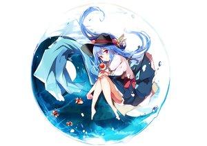 Rating: Safe Score: 64 Tags: animal aqua_hair bow fish hat hinanawi_tenshi long_hair red_eyes tetsurou_(fe+) touhou User: RyuZU