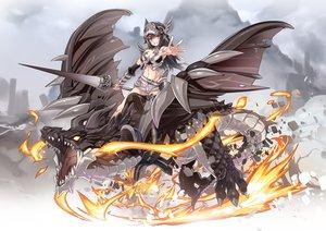 Rating: Safe Score: 65 Tags: armor breasts brown_hair cleavage dragon fire long_hair navel nyoronyoro orange_eyes original shorts weapon User: RyuZU