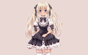 Rating: Safe Score: 83 Tags: aqua_eyes blonde_hair blush garter_belt goth-loli lolita_fashion long_hair nogi_takayoshi original photoshop ribbons thighhighs twintails waifu2x User: gnarf1975