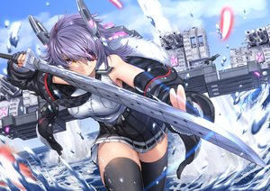 Rating: Safe Score: 58 Tags: aliasing anthropomorphism clouds eyepatch gloves kantai_collection katana long_hair mechagirl purple_hair skirt sky sword tenryuu_(kancolle) thighhighs water weapon zettai_ryouiki zombie_mogura User: BattlequeenYume