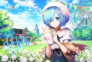 Rating: Safe Score: 60 Tags: applecaramel_(acaramel) aqua_eyes aqua_hair building choker clouds drink flowers hat rem_(re:zero) re:zero_kara_hajimeru_isekai_seikatsu rose short_hair signed skirt sky wristwear User: sadodere-chan