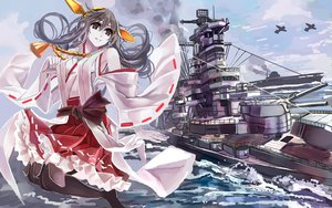 Rating: Safe Score: 44 Tags: aircraft anthropomorphism black_hair boat brown_eyes clouds combat_vehicle fullerene haruna_(kancolle) headband japanese_clothes kantai_collection long_hair miko skirt thighhighs water User: minabiStrikesAgain