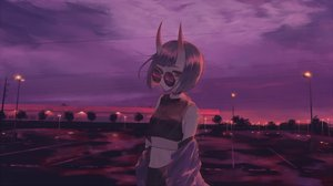 Rating: Safe Score: 21 Tags: choker clouds demon fate/grand_order fate_(series) horns litra_(ltr0312) navel purple purple_eyes purple_hair scenic short_hair shuten_douji_(fate) sky sunglasses sunset User: sadodere-chan