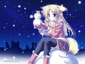 Rating: Safe Score: 125 Tags: animal_ears blonde_hair blue blue_eyes christmas foxgirl inakoi kamishiro_mutsuki santa_costume snow thighhighs User: Oyashiro-sama