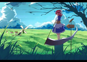 Rating: Safe Score: 86 Tags: haraguroi_you jpeg_artifacts onozuka_komachi pink_hair scythe touhou tree twintails weapon User: gnarf1975