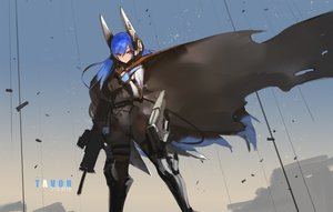 Rating: Safe Score: 244 Tags: anthropomorphism blue_hair cape girls_frontline gloves gun headdress kishiyo long_hair mechagirl orange_eyes original tar-21_(girls_frontline) torn_clothes translation_request weapon User: RyuZU
