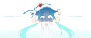 Rating: Safe Score: 103 Tags: aqua_hair cait hat hatsune_miku long_hair summer_dress twintails vocaloid User: FormX