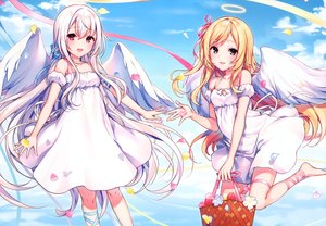Rating: Safe Score: 80 Tags: 2girls angel blonde_hair brown_eyes clouds dress flowers komeshiro_kasu long_hair original petals red_eyes scan white_hair User: Nepcoheart