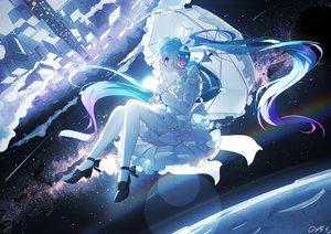 Rating: Safe Score: 91 Tags: aliasing aqua_eyes aqua_hair bai_yemeng building city dress hatsune_miku lolita_fashion long_hair rainbow ribbons signed space stars thighhighs twintails umbrella vocaloid User: RyuZU