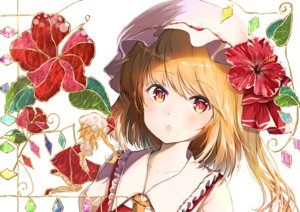 Rating: Safe Score: 43 Tags: blonde_hair blush close flandre_scarlet flowers happiness_lilys hat ponytail red_eyes short_hair touhou User: RyuZU