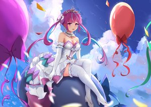 Rating: Safe Score: 47 Tags: clouds dress elbow_gloves gloves hololive long_hair minato_aqua purple_eyes purple_hair sky taikoi7 thighhighs tiara twintails User: BattlequeenYume