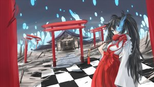 Rating: Safe Score: 72 Tags: arceon black_hair black_rock_shooter blue_eyes japanese_clothes kuroi_mato long_hair magic miko shrine torii User: mattiasc02