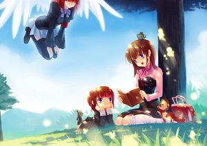 Rating: Safe Score: 36 Tags: blue_eyes brown_hair butterfly crown ecil grass kneehighs loli red_hair sakutaro short_hair sky thighhighs tree umineko_no_naku_koro_ni ushiromiya_ange ushiromiya_maria wings User: HawthorneKitty