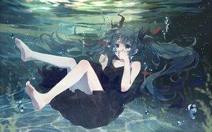 Rating: Safe Score: 133 Tags: aqua_eyes aqua_hair barefoot bou_shaku bubbles deep-sea_girl_(vocaloid) dress hatsune_miku long_hair ribbons twintails underwater vocaloid water User: Flandre93