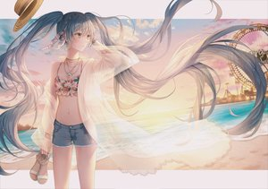 Rating: Safe Score: 80 Tags: aqua_eyes aqua_hair beach bikini_top braids breasts cleavage clouds hatsune_miku lium long_hair necklace shorts sky sunset twintails vocaloid water wristwear User: Dreista