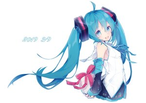 Rating: Safe Score: 40 Tags: aqua_eyes aqua_hair bondage bow chuuko_anpu hatsune_miku long_hair ribbons skirt twintails vocaloid white User: FormX
