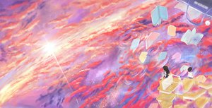 Rating: Safe Score: 61 Tags: 2girls book clouds original scenic school_uniform sky sorohe_(onlyivy) sunset User: FormX